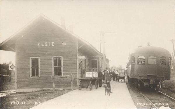 Railroad Depot And Train Wreck In Elsie Clinton County Michigan